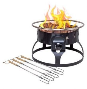 redwood-propane-firepit-with-skewers