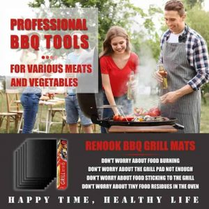 RENOOK Grill Mat Set of 6 - 100% Non-Stick BBQ Grill Mats, Heavy Duty, Reusable, and Easy to Clean - Works on Electric Grill Gas Charcoal BBQ - 15.75 x 13-Inch, Black