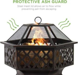 wood burning firepit with spark guard