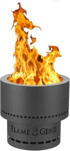 flame genie black color wood pellet burning firepit