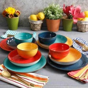 colorful outdoor dinnerware
