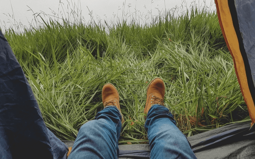 view-from-the-tent-when-lying-down-and-seeing-your-feet-stuck-out