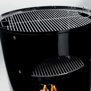 weber 14inch Smokey Mountain Cookershowing quality stanless steel cooking grates